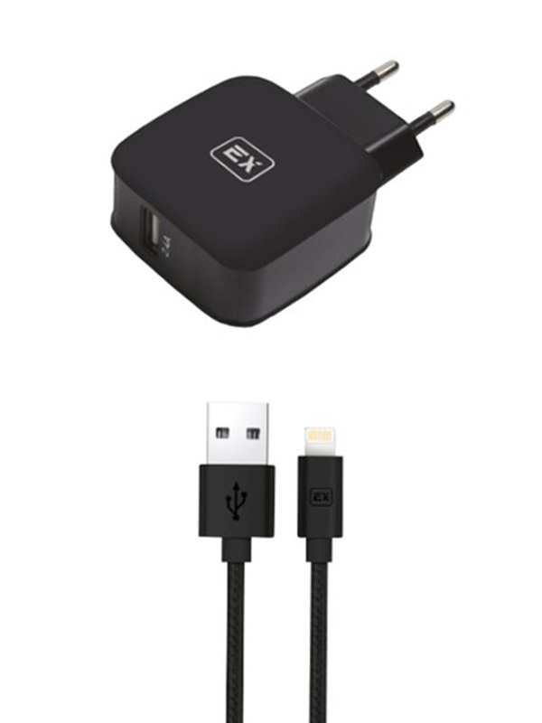 Фото - Зарядное устройство Exployd Sonder 1xUSB 2.4A/2.4A QC3.0 + Cable Lightning Black EX-Z-618 зарядное устройство exployd sonder 1xusb 2 4a qc3 0 кабель type c white ex z 633