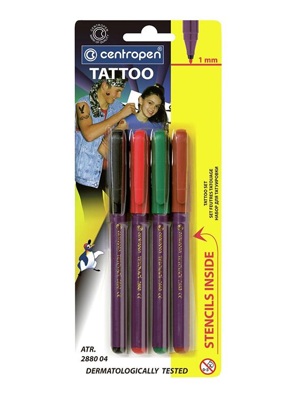 Фломастеры для кожи Centropen Tattoo 4 цвета 16 трафаретов 628800405