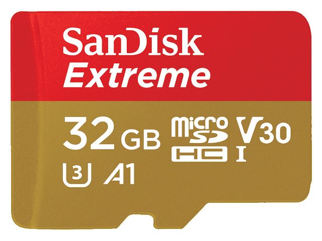 Карта памяти 32Gb - SanDisk Extreme MicroSDHC Class 10 UHS-I U3 V30 A1 SDSQXAF-032G-GN6GN