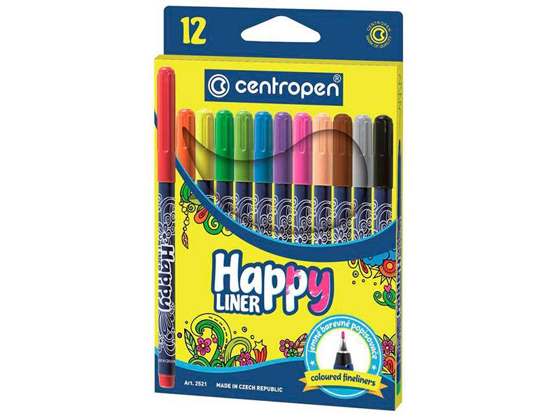 Набор капиллярных ручек Centropen Happy Liner 0.3mm 12 цветов 2 2521 1202