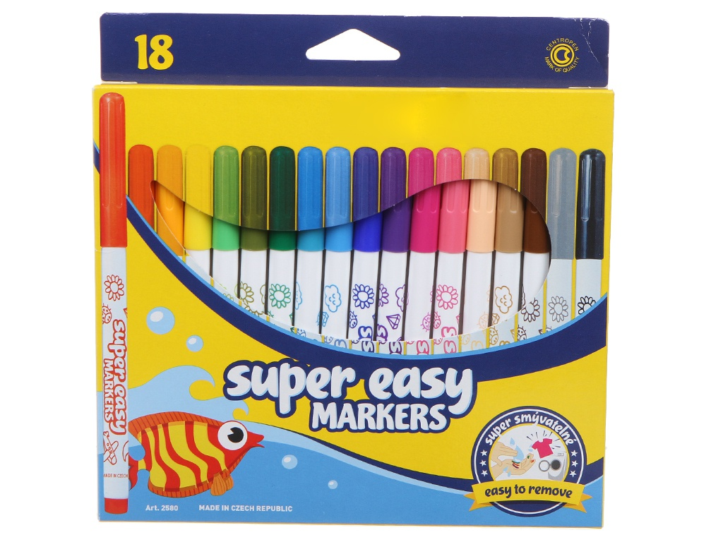 Фломастеры Centropen Super Easy 18 цветов 7 2580 1885