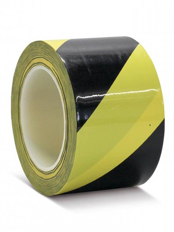 Лента ПВХ для разметки Мельхозе 75mm x 33m Yellow-Black КМSW07533