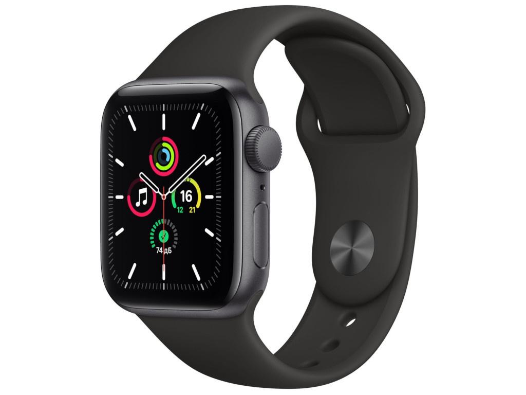 Умные часы APPLE Watch SE 40mm Space Grey Aluminium Case with Black Sport Band MYDP2RU/A Выгодный набор + серт. 200Р!!!