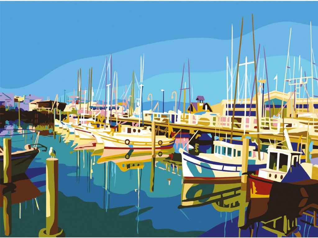Картина по номерам Картина по номерам Остров Сокровищ Яхты на пристани 662470