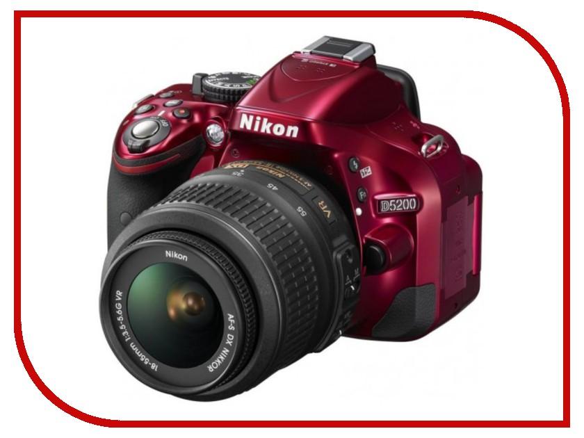 Фотоаппарат Nikon D5200 Kit AF-S DX 18-55 mm f/3.5-5.6G VR Red<br>