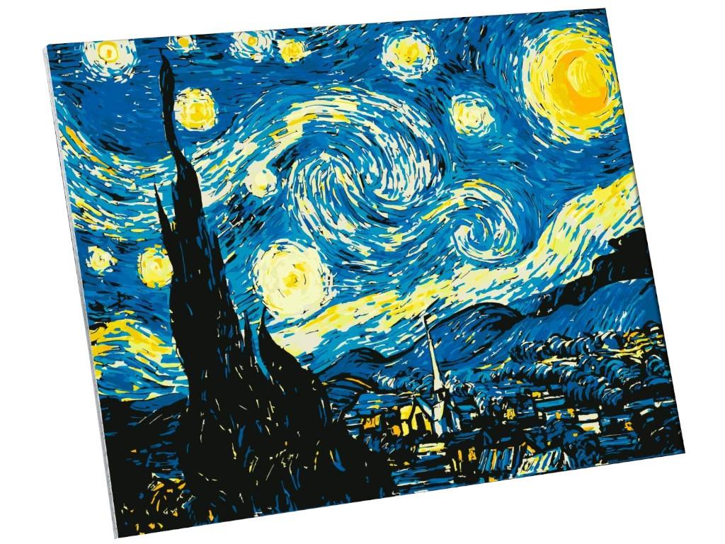 Картина по номерам Школа талантов Звёздная ночь. Винсент ван Гог 40x50cm 5135001 кошелек с застёжкой винсент ван гог звёздная ночь pu 10 9 блистер 12 11592 zy 5
