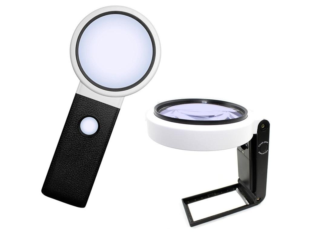 Лупа настольная Kromatech TH-7018 10x/25x-90mm с подсветкой 8 LED-BD 23149b286