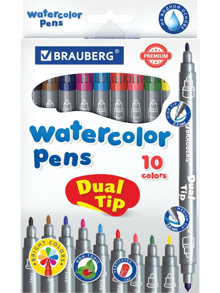 Фломастеры двусторонние Brauberg Premium Dual-Tip 10 цветов 151946