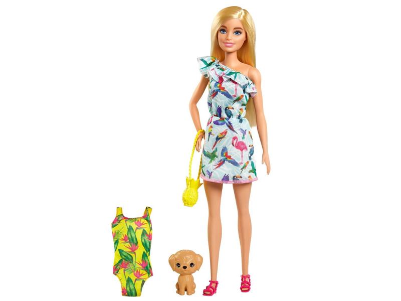 Фото - Кукла Mattel Barbie Барби блондинка в платье с питомцем и аксессуарами GRT87 кукла mattel barbie скиппер няня в клетчатой юбке с малышом и аксессуарами grp11
