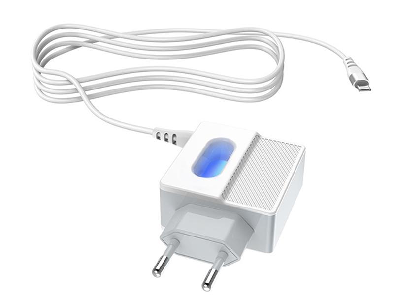 Фото - Зарядное устройство Hoco C75 Imperious 2xUSB 2.4A + Lightning White 15449 зарядное устройство hoco c75 2xusb type c кабель type c white