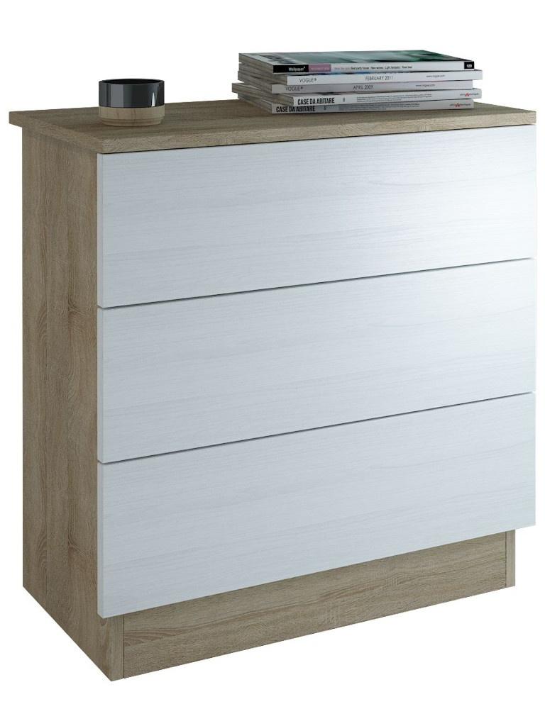 Комод Мастер Уно-25 Sonoma Oak White МСТ-УК3-25-СБ-16