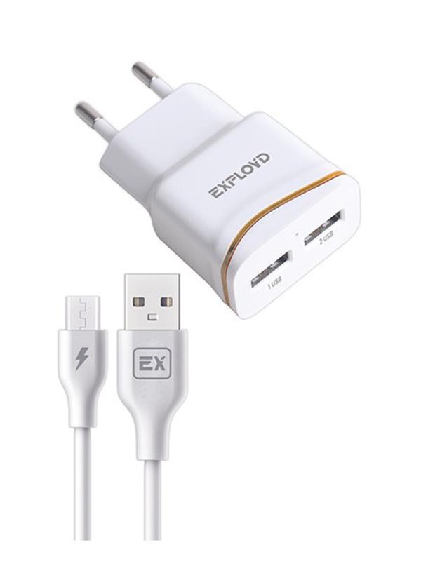 Зарядное устройство Exployd Classic 2xUSB microUSB 2.4A White EX-Z-985
