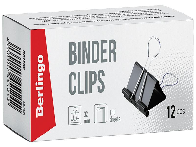 Зажимы для бумаг Berlingo 32mm 12шт BC1232