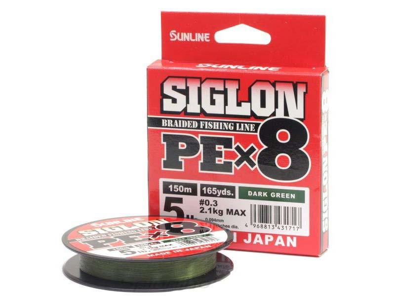 Леска Sunline Siglon PE X8 0.3mm 150m Dark Green