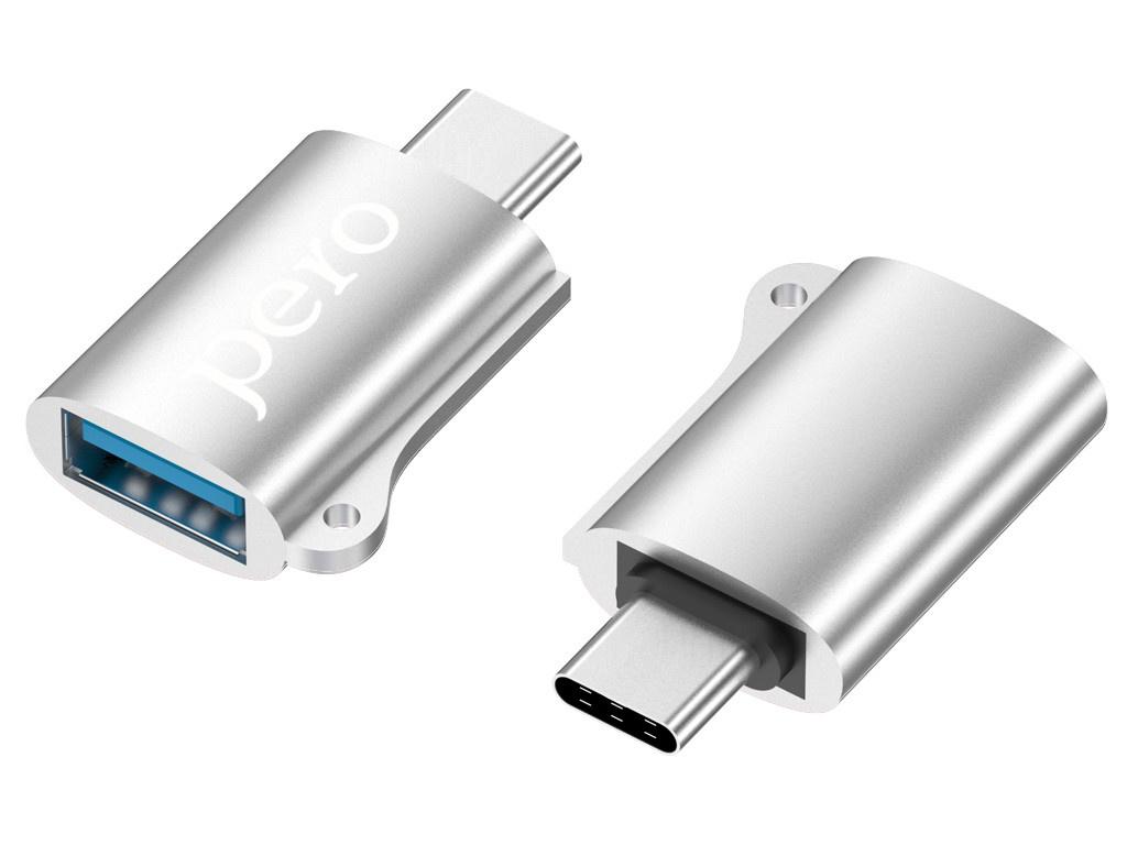 Аксессуар Pero AD02 OTG USB Type-C - 2.0 Silver PRAD02TUSR