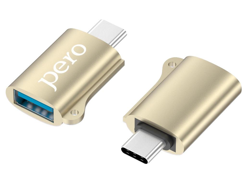 Аксессуар Pero AD02 OTG USB Type-C - 2.0 Gold PRAD02TUGD