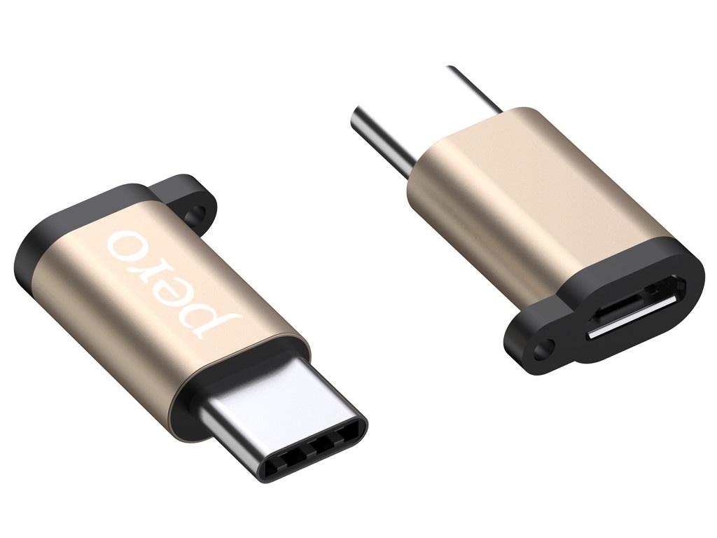 Фото - Аксессуар Pero AD01 USB Type-C - MicroUSB Gold PRAD01TMGD аксессуар pero ad01 lightning microusb silver prad01lmsr