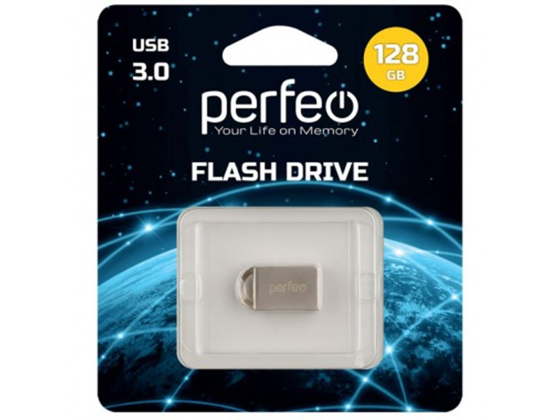 USB Flash Drive 128Gb - Perfeo USB 3.0 M11 Metal Series PF-M11MS016 usb flash drive 4gb perfeo e01 green economy series pf e01g004es