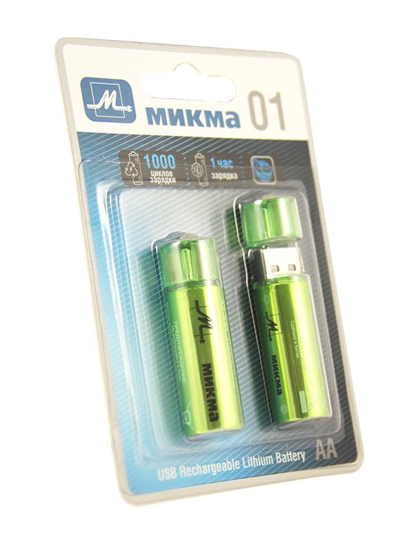 Аккумулятор AA - Микма 01 1000mAh USB Rechargeable Lithium Battery (2 штуки) C182-26314