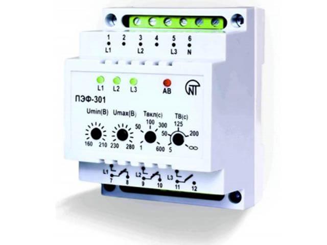 Фото - Реле контроля напряжения Новатек-Электро ПЭФ-301 реле контроля напряжения новатек электро убз 301 10 100a