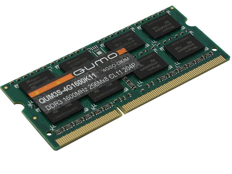 Модуль памяти Оперативная память Qumo 4GB DDR3 1600MHz SODIMM 204pin CL11 QUM3S-4G1600K11R