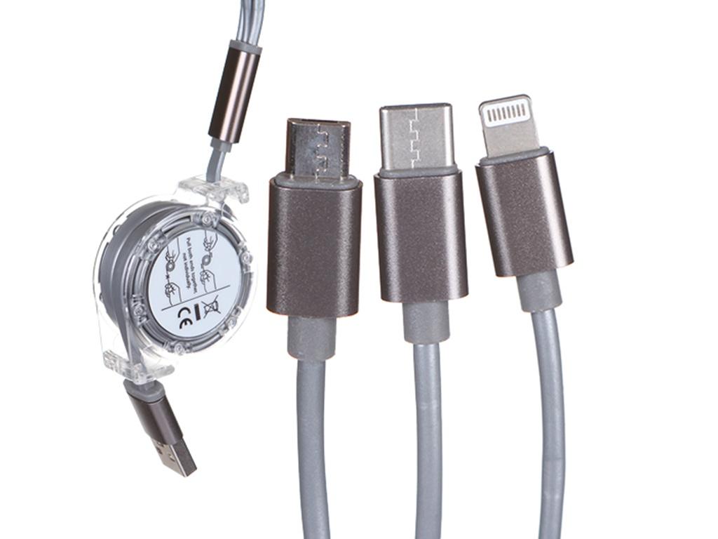 Фото - Аксессуар mObility USB - MicroUSB / Lightning / Type-C 2A Silver УТ000024626 аксессуар baseus three mouse 3 in 1 usb type c microusb lightning 3 5a 1 2m black camlt mu01