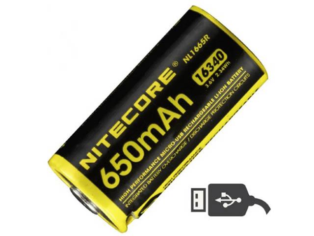 Аккумулятор CR123 - Nitecore NL1665R Li-Ion 650mAh 17041