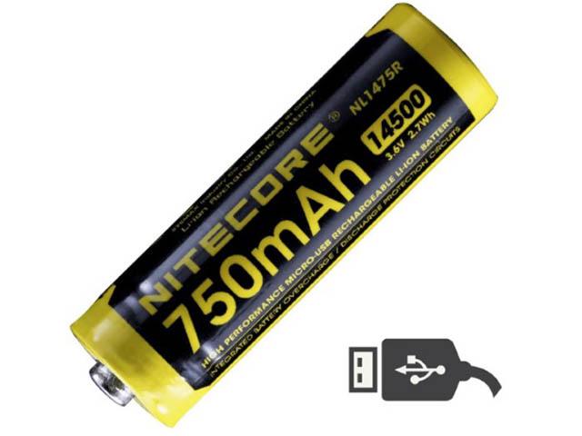 Аккумулятор 14500 - Nitecore NL1475R Li-Ion 750mAh 17042