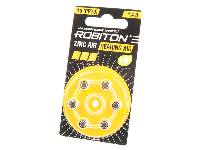 Батарейки Robiton Hearing Aid R-ZA10-BL6 (6 штук) 16911