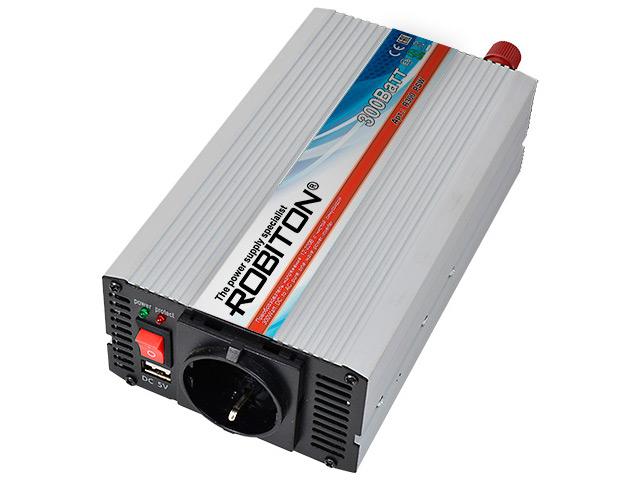 Автоинвертор Robiton R300 PSW (300Вт) с 12В на 220В 13320 автоинвертор robiton r500 24v 500вт с 24в на 220в 13202