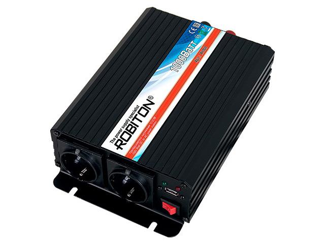 Автоинвертор Robiton R1000 (1000Вт) с 12В на 220В 13203 автоинвертор avs in 200w a80683s с 12в на 220в