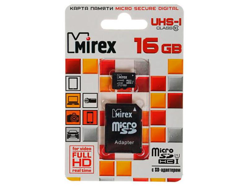 Фото - Карта памяти 16Gb - Mirex MicroSD Class 10 UHS-I 13613-ADSUHS16 с адаптером SD карта памяти kingston canvas select microsd uhs i class 10 16gb с адаптером