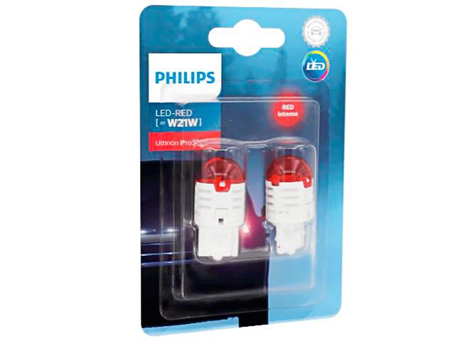 Лампа Philips Red Ultinon Pro3000 LED W21W 12V-LED (W3x16d) 2шт 11065U30RB2