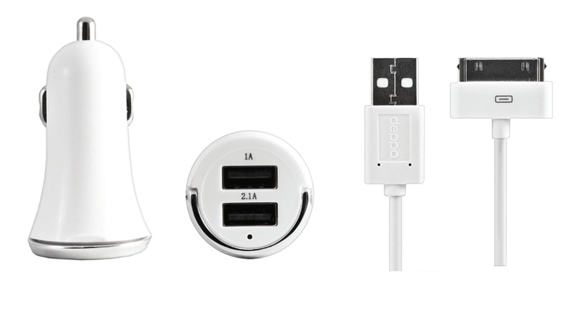 Аксессуар Deppa Ultra 2100mA 2xUSB White сетевое + Кабель USB Deppa Data Cable для iPhone / iPod / iPad 11302