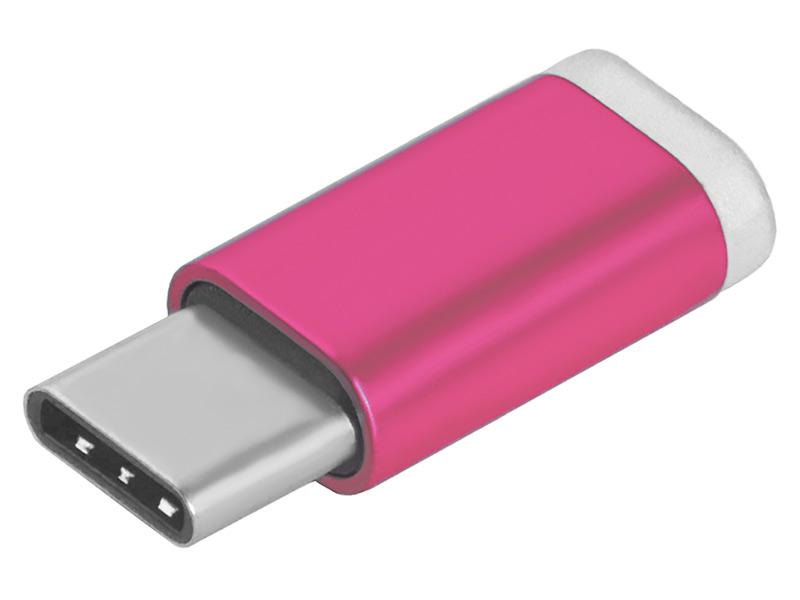 Аксессуар GCR USB Type C - MicroUSB 2.0 Pink GCR-UC3U2MF-R