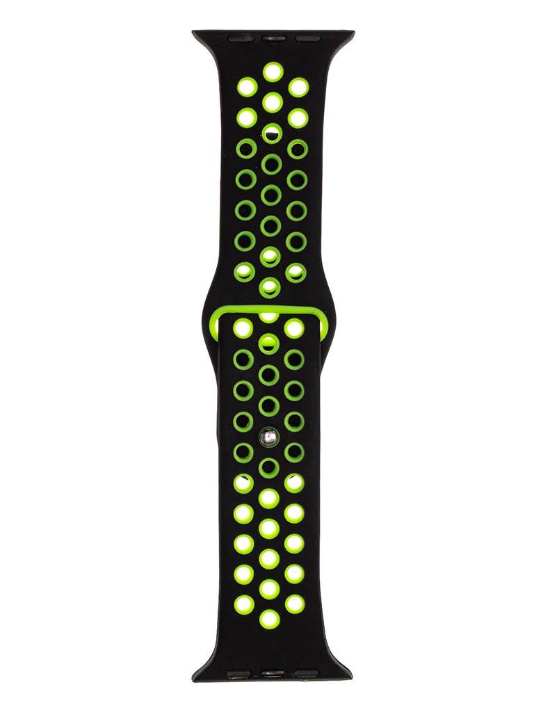 Аксессуар Ремешок Evolution для Apple Watch 42/44mm Sport+ Silicone Black-Fluorescent Green AW44-SP01