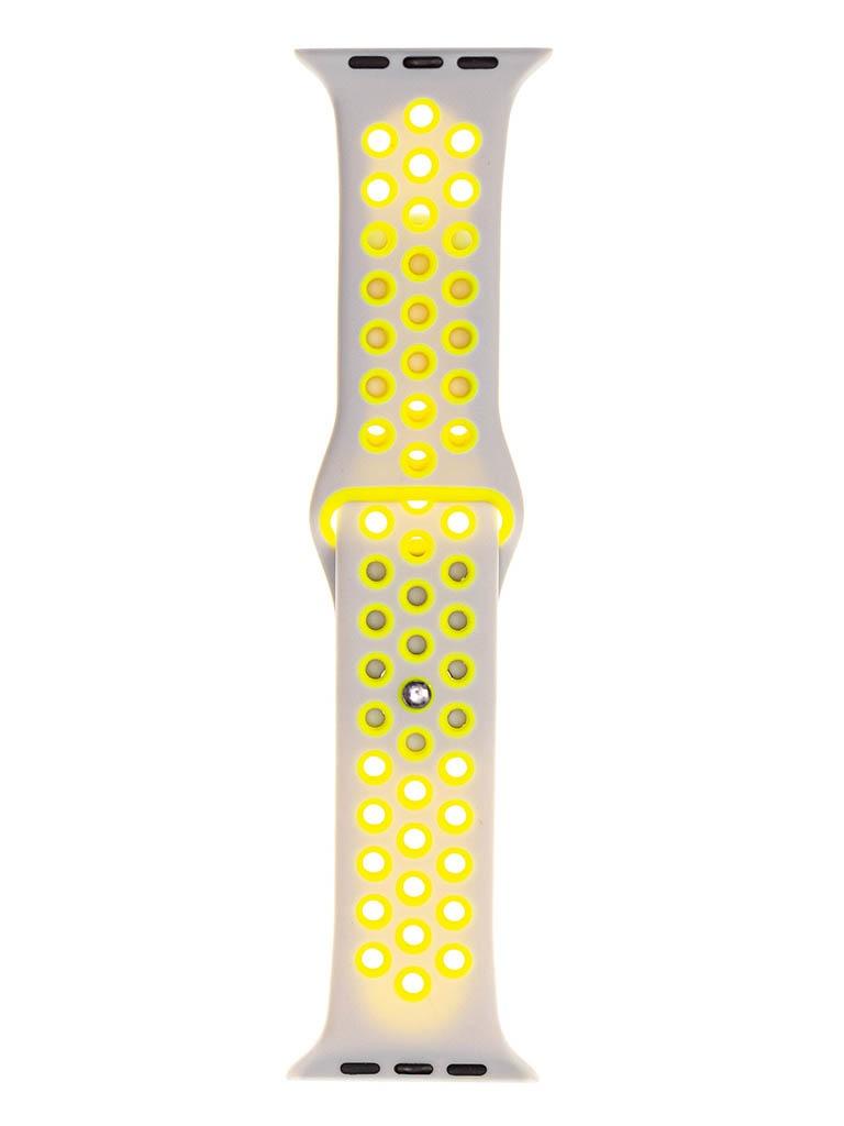 Аксессуар Ремешок Evolution для Apple Watch 42/44mm Sport+ Silicone Cold Silver-Fluorescent Yellow AW44-SP01