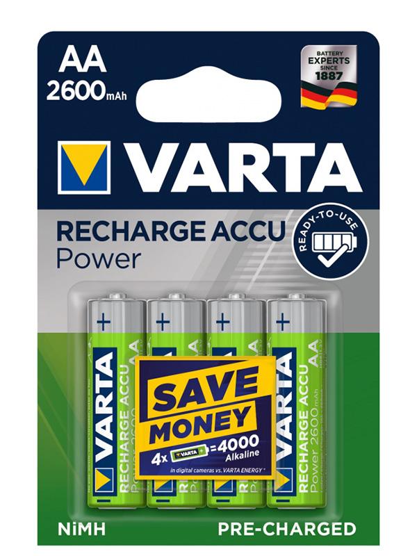 Аккумулятор AA - Varta 2600mAh BL4 Ready2Use (4 штуки) (VR AA2600mAh/4BL R2U)