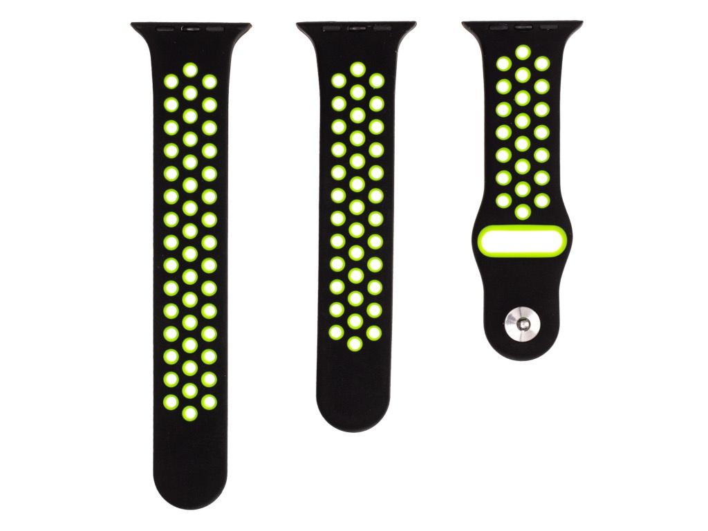 Аксессуар Ремешок Evolution для APPLE Watch 38/40mm Sport+ AW40-SP01 Silicone Black-Fluorescent Green