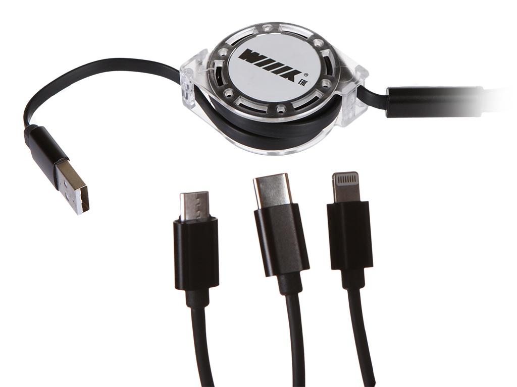 Фото - Аксессуар WIIIX 3 в 1 USB - Lightning / Micro USB / Type-C 1m Black CB-418tp-U8MUTC(1.0)-BTr аксессуар wiiix micro usb 8pin type c 0 2m black cbb600 u8mutc 2b