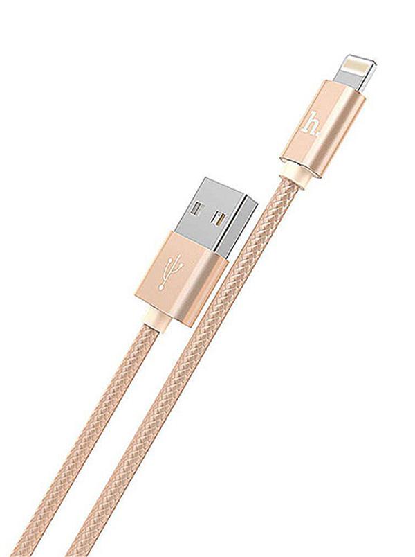 Аксессуар Hoco Knitted X2 USB - Lightning 1m Gold 6957531032144