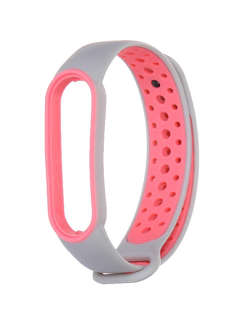 Aксессуар Ремешок Red Line для Xiaomi Mi Band 6 Silicone Grey-Pink УТ000025206