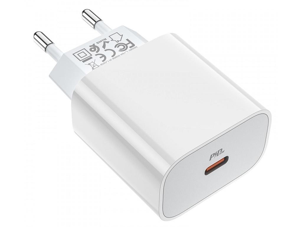 Фото - Зарядное устройство Hoco C76A Plus Speed Source Type-C PD20 + QC3.0 White зарядное устройство hoco c75 2xusb type c кабель type c white