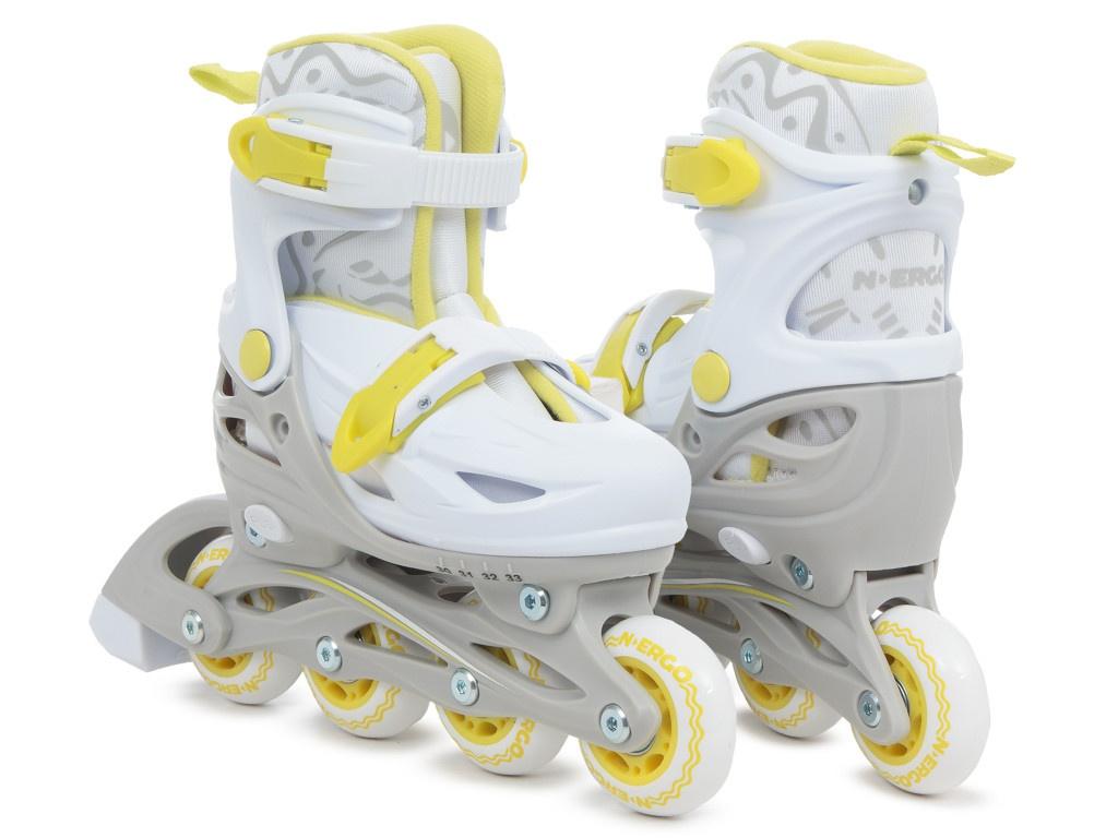 Коньки N.Ergo N-083QH р.S 30-33 White-Yellow