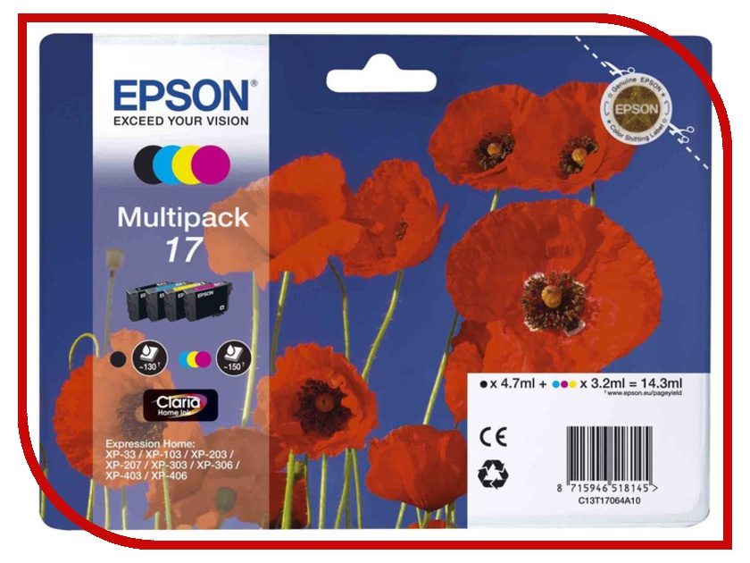 Картридж Epson T1706 C13T17064A10 Multipack для XP-33/103/203/207/303/306/403/406 full specialized dye ink ciss for eposn t1711 t1701 for epson xp 313 xp 413 xp 103 xp 203 xp 207 xp 303 xp 306 xp 403 xp 406