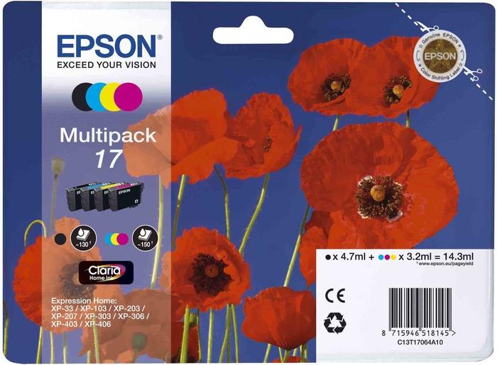 Картридж Epson T1706 C13T17064A10 Multipack для XP-33/103/203/207/303/306/403/406 все цены
