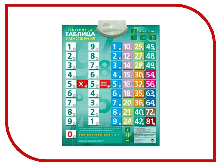 Звуковой плакат Знаток Таблица умножения PL-03-UM decoretto наклейка таблица умножения поляна сказок