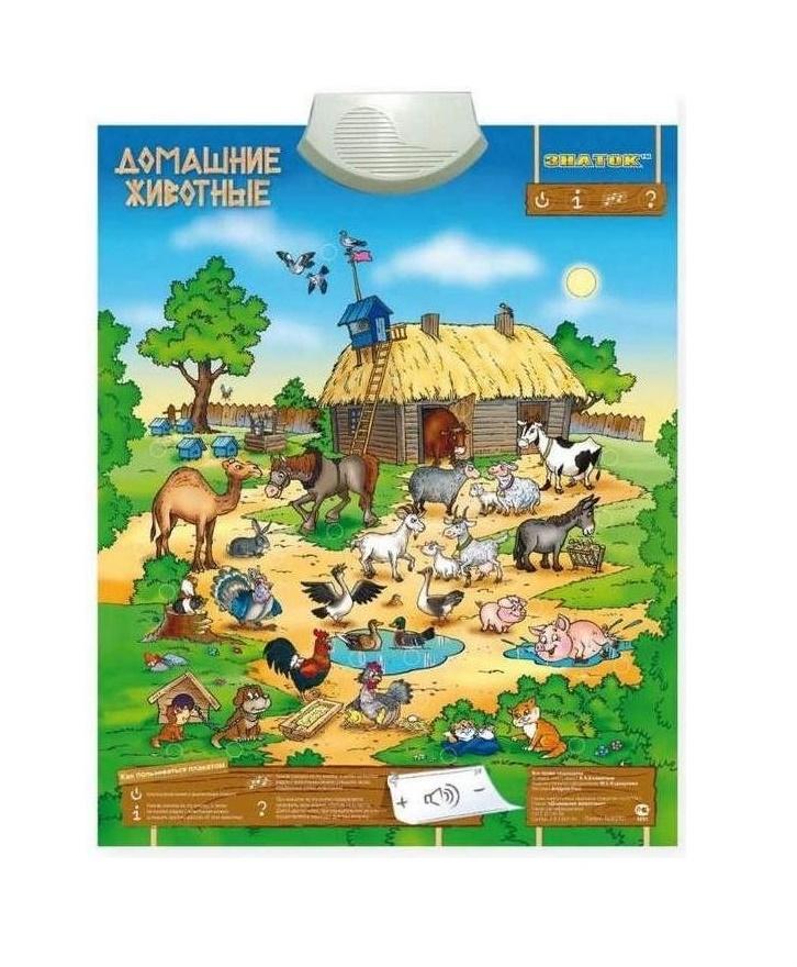 Звуковой плакат Знаток Домашние животные PL-10-ZH звуковой плакат знаток учимся читать pl 05 lr