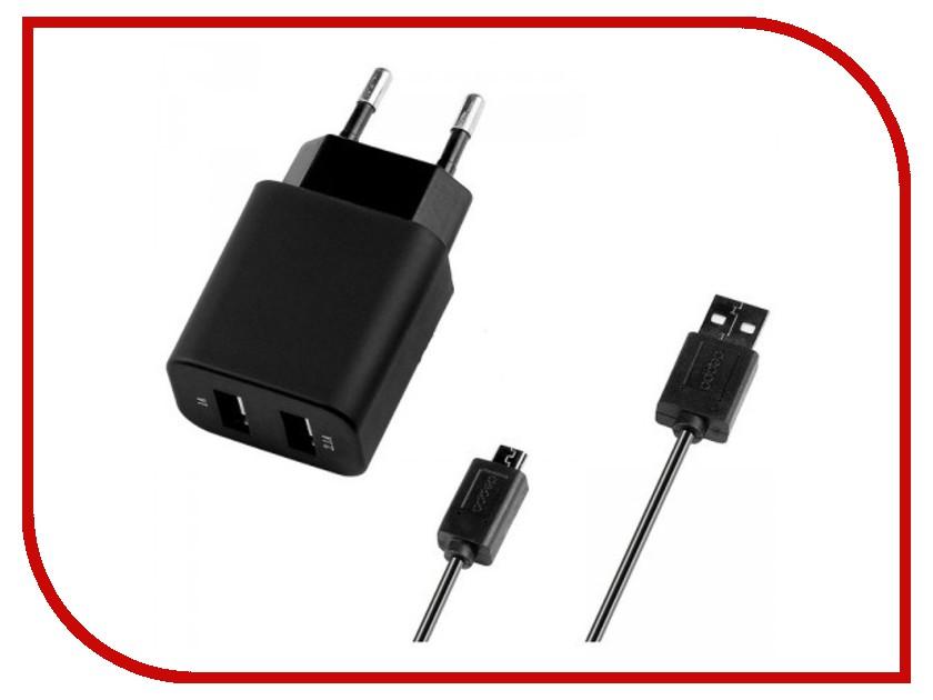 Зарядное устройство Deppa Ultra 2xUSB компакт 2100mA сетевое + кабель microUSB Black 11303