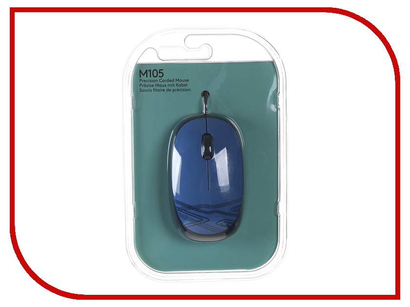 Мышь проводная Logitech M105 Blue 910-003119